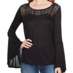 Jessica SImpson knit top bell sleeves black LG NWT